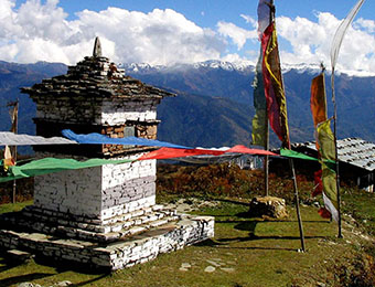 Mountain views and prayer flags in Samdrup Jongkhar, Bhutan