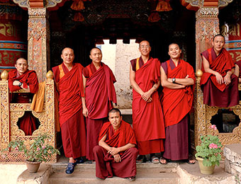 Monks at Tango Monastery in Thimpu Bhutan, by Mark Tuschman