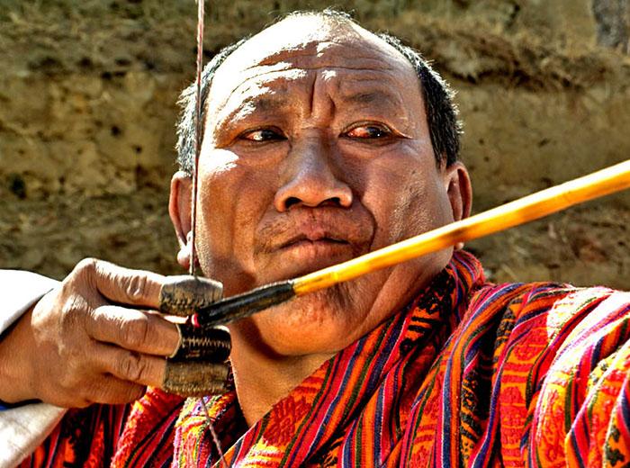 Archery in Bhutan during a festival (tsechu)