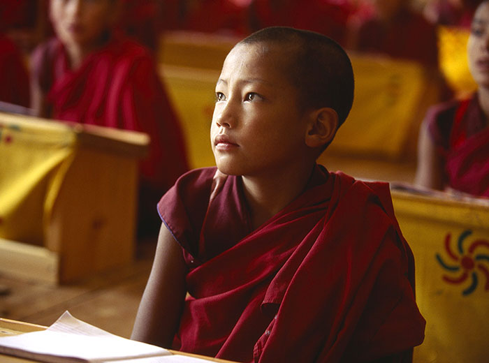 child monk in monastery by mark tuschman