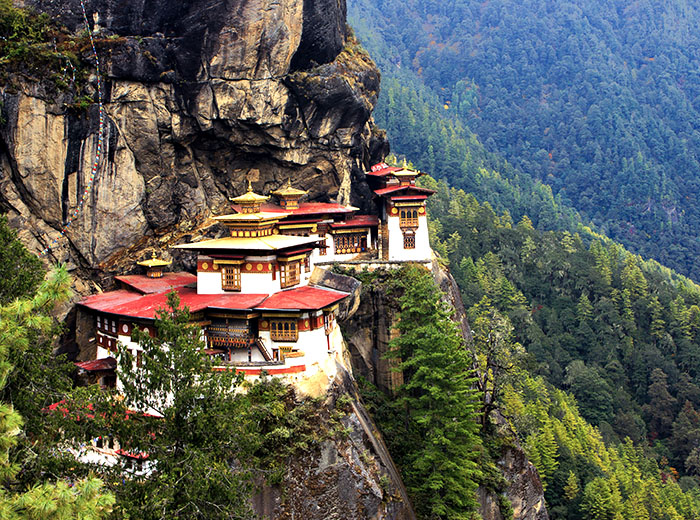 View of Tiger's Nest Monastery in Bhutan