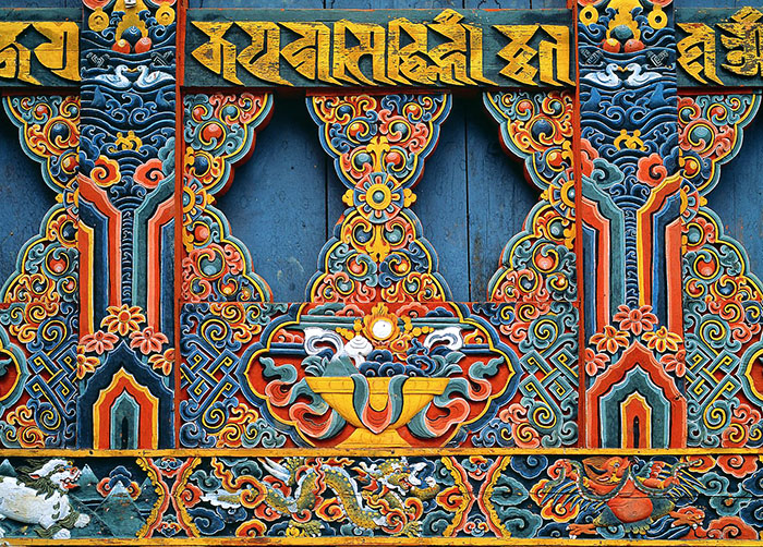 carved wooden panel - Bhutan
