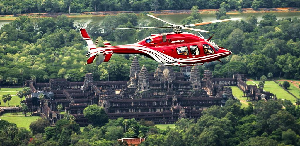Helicopter tour over Angkor Wat, Cambodia