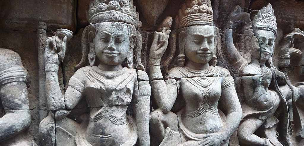 Carved faces at Angkor Thom, Cambodia