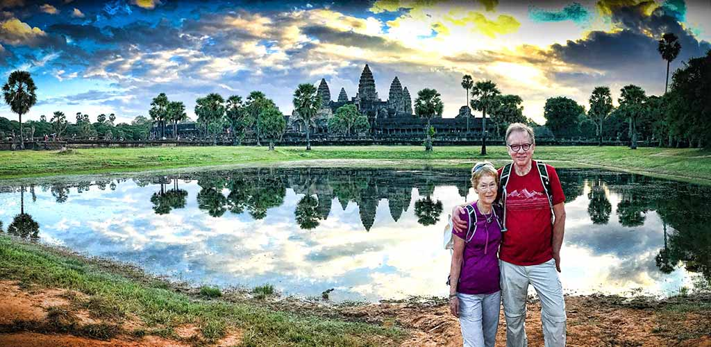 The Wootens in front of Angkor Wat, Cambodia by Neville Wooten