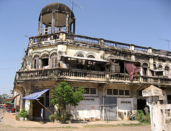 Old French building in Kratie, Cambodia