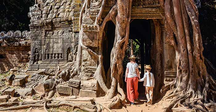 Family tour of Angkor in Cambodia