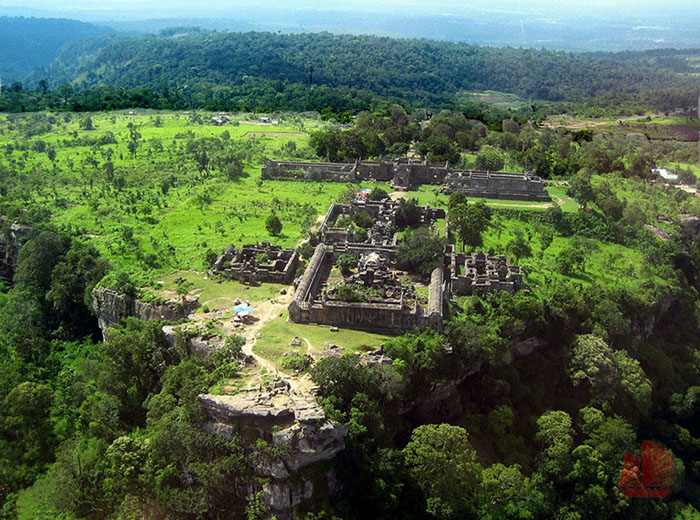 Helicopter view of Preah Vihear temple in Cambodia