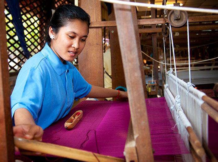 Weaver at Golden Silk Farm, Siem Reap, Cambodia