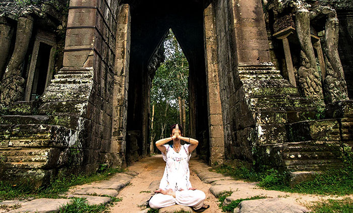 Yoga in Angkor, Cambodia