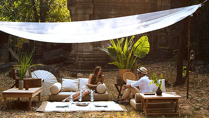 Luxury tented picnic in Angkor temple complex, Cambodia
