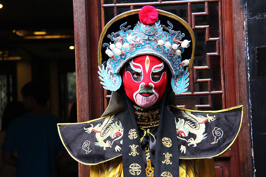 Face changing performer in Chendu, China
