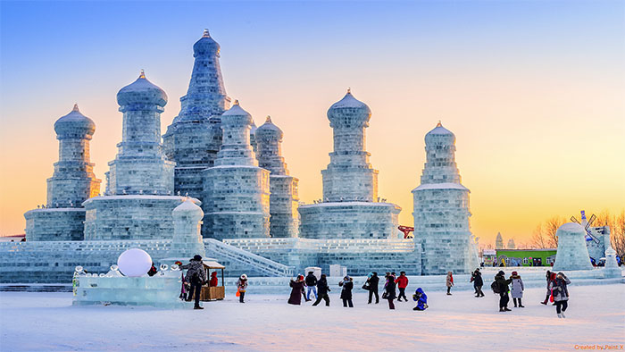 Ice buildings at the Harbin Snow and Ice festival in Harbin, China