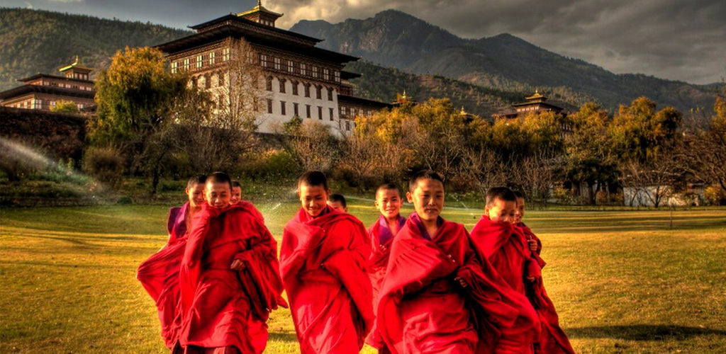 Child monks in front of hotel in Bhutan