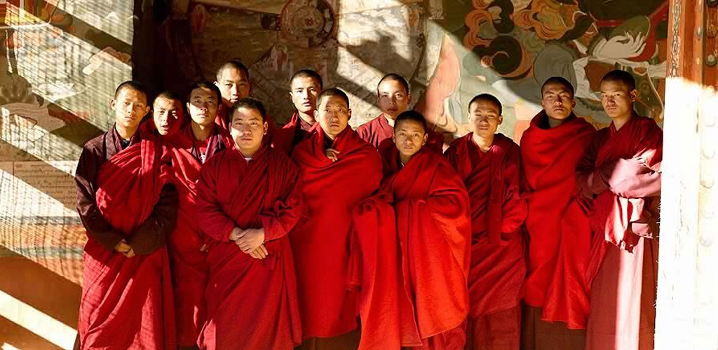 Monks in Bhutan monastery