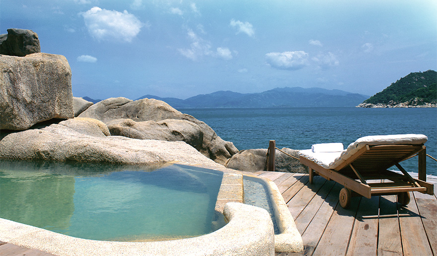 View from the terrace of a luxury bungalow at the Six Senses Ninh Van Bay, Vietnam.