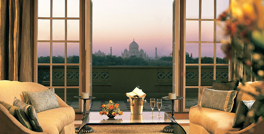 View of the Taj Mahal from the Oberoi Amarvilas, Agra, India