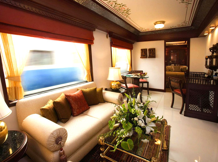 Luxury train suite lounge on Maharajas express