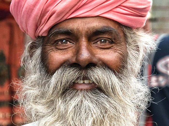 Smiley face of an old Indian man