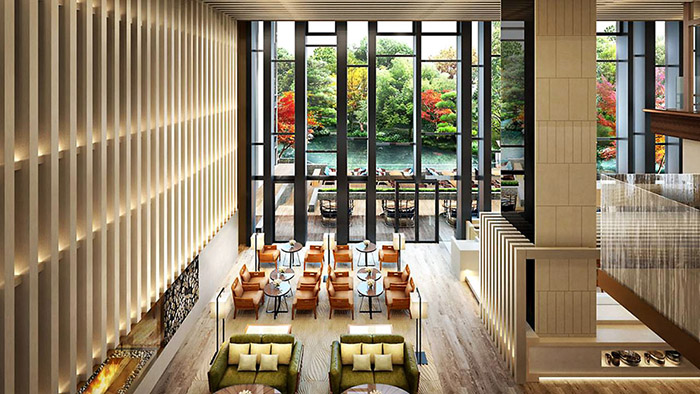 Indoor lounge at the Four Seasons Kyoto.