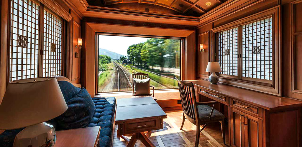 Rear view from Seven Stars luxury train, Japan