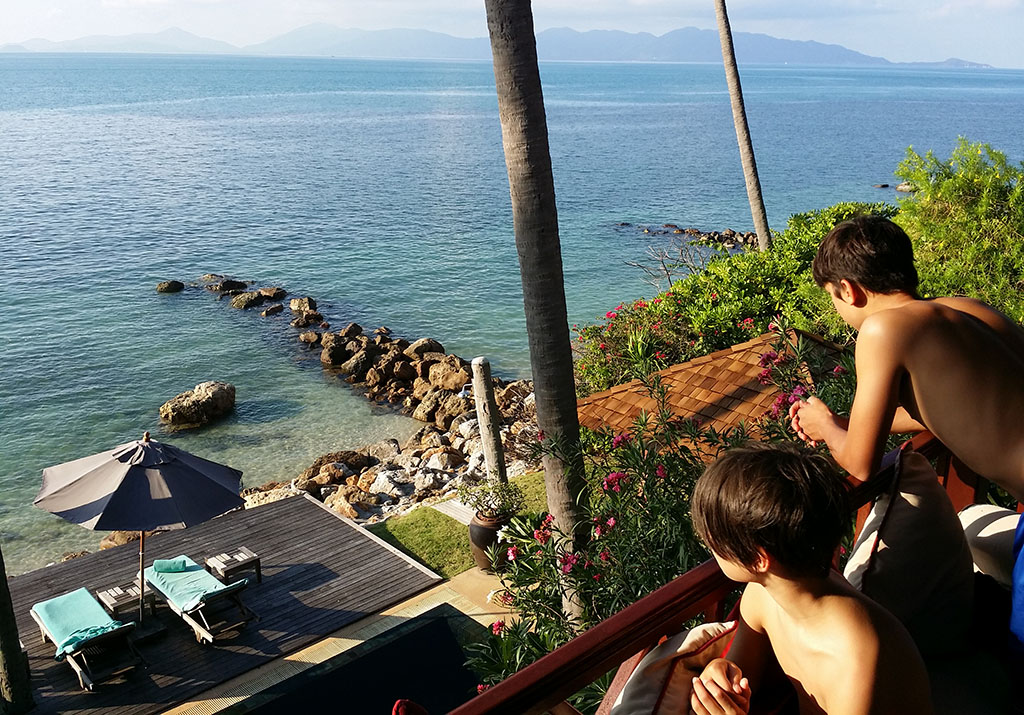 View over the ocean from the Napasai in Koh Samui