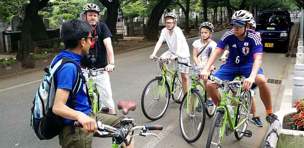 Bicycling in Tokyo during family tour of Japan