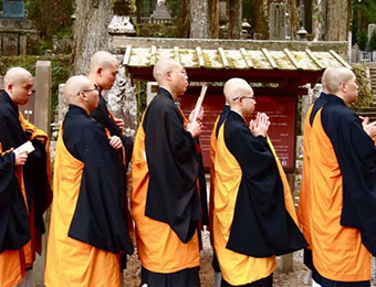 monks in koya san Japan