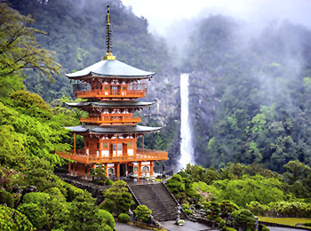 Kumano Kodo pilgirmage trail temple, Japan