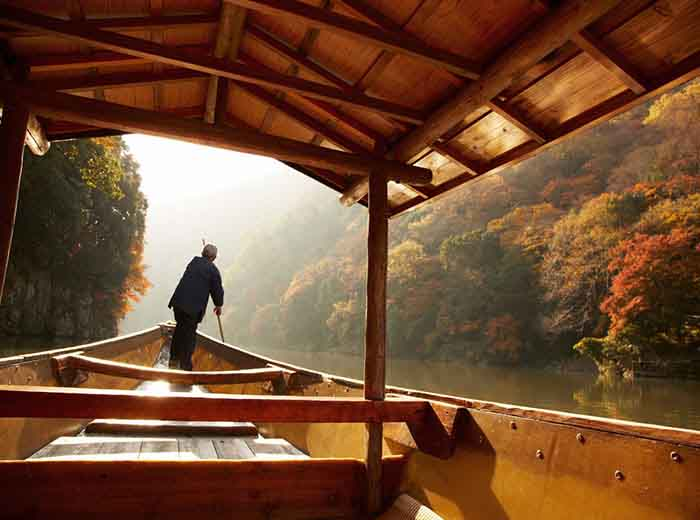 Private luxury cruise on the Hozugawa River in Kyoto, Japan