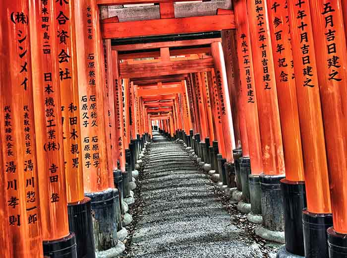 Fushimi Inari Shrine gateway in Kyoto, Japan