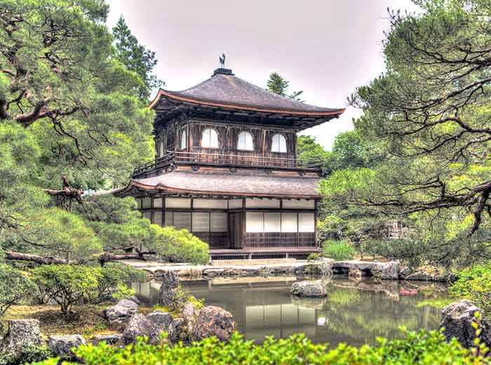 UNESCO World Heritage site The Golden Pavilion, Ginkaku Ji, Kyoto, Japan