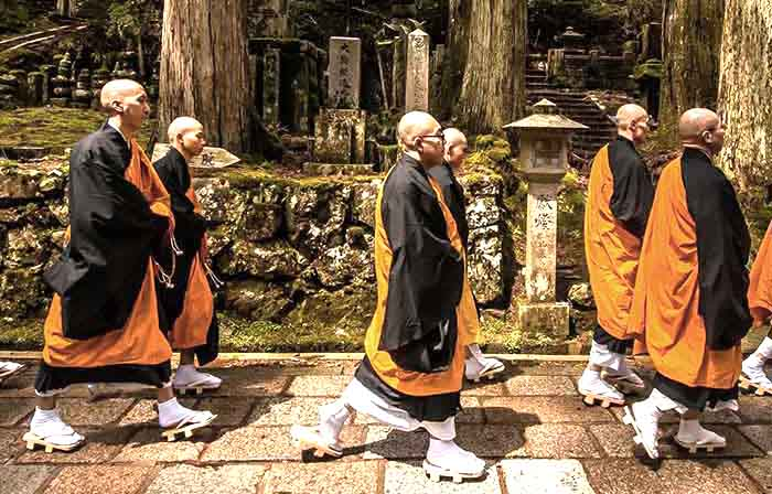 Monk procession in Koyasan, Japan