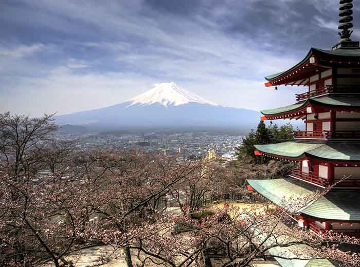 View of snow-capped Mount Fuji, Japan