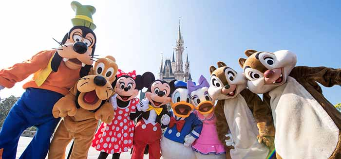 Tokyo Disney characters Pluto, Mickey, Minnie, Donald and more.