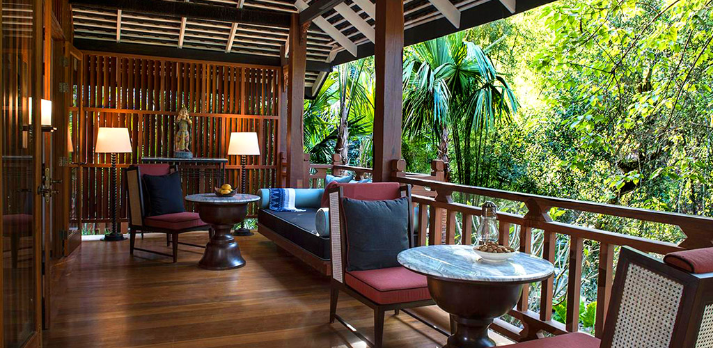 Jungle terrace at the Rosewood luxury resort in Luang Prabang, Laos