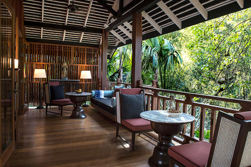 Terrace at Rosewood luxury resort in Luang Prabang, Laos