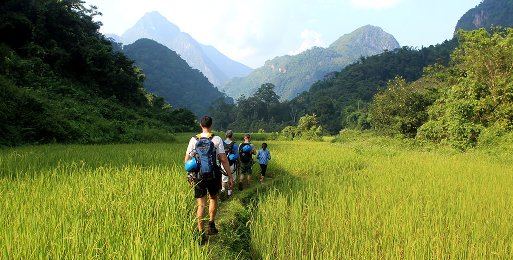 Hiking in northern Laos on a family tour