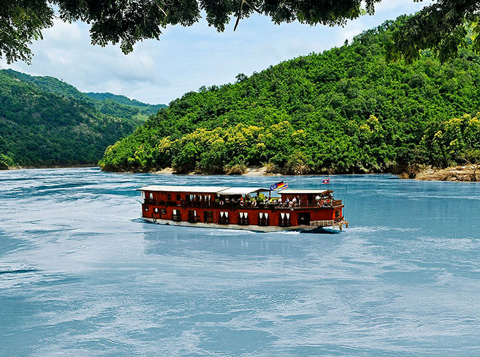 Sun Cruise ship on the Mekong  River in Laos