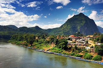 Nong Khiaw, Laos, aerial view
