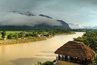 Van Vieng, Laos, riverfront