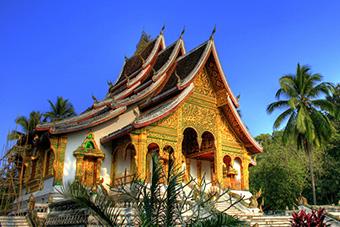 Afternoon sun on Wat Xieng Thong in Luang Prabang, Laos
