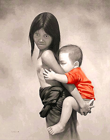 Painting of Laotian children