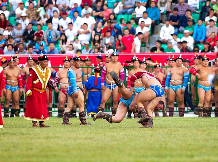 Mongolian wrestlers during Nadaam Festival