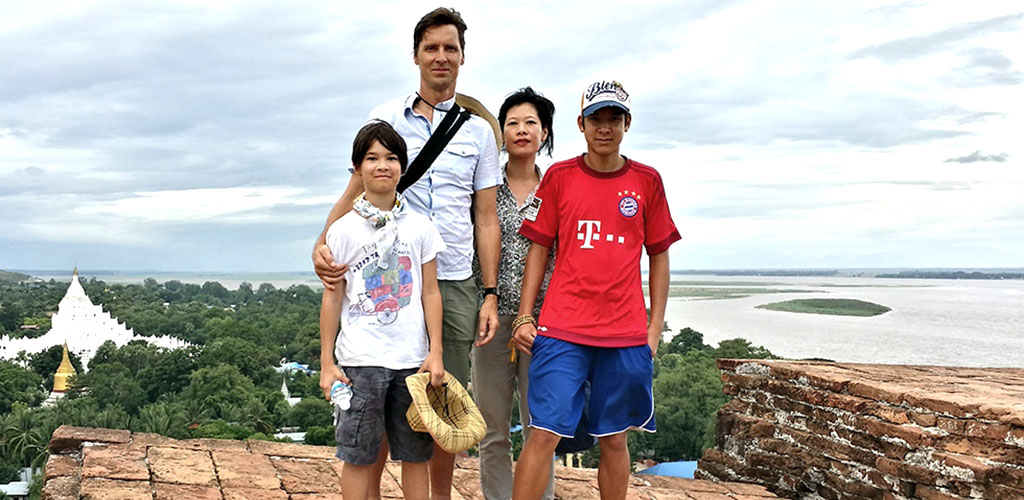 Family touring Minigun in Mandalay, Myanmar