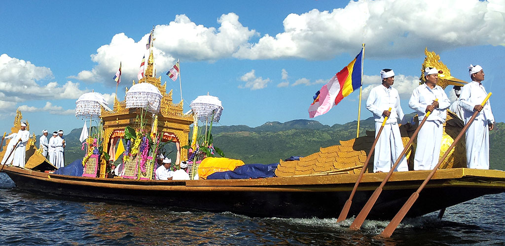 Festival barge on Inle Lake, Myanmar