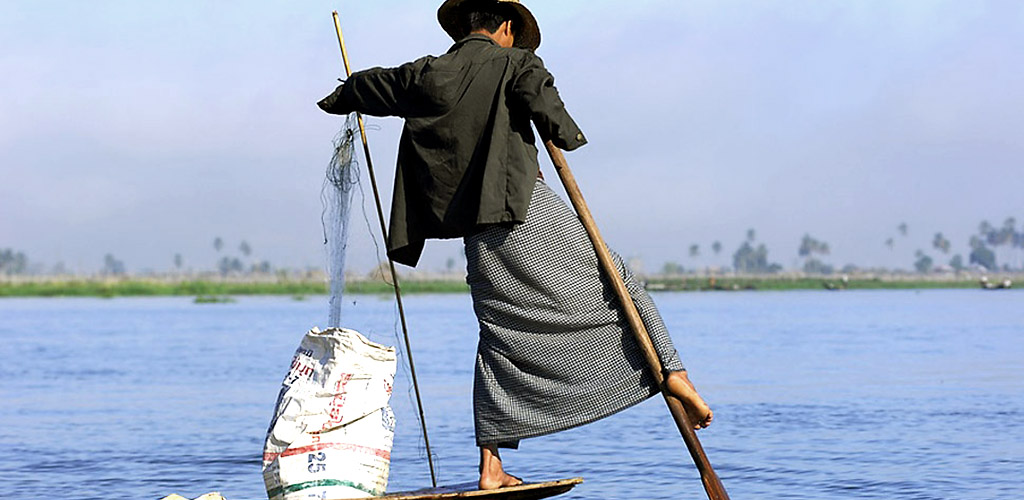 One-legged rower on Inle Lake, Myanmar