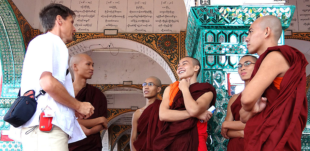 Meeting with monks in Mandalay, Myanmar