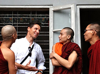 Meeting with monks in Myanmar