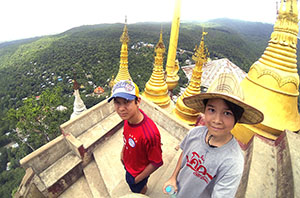 Family traveling in Myanmar (Burma)